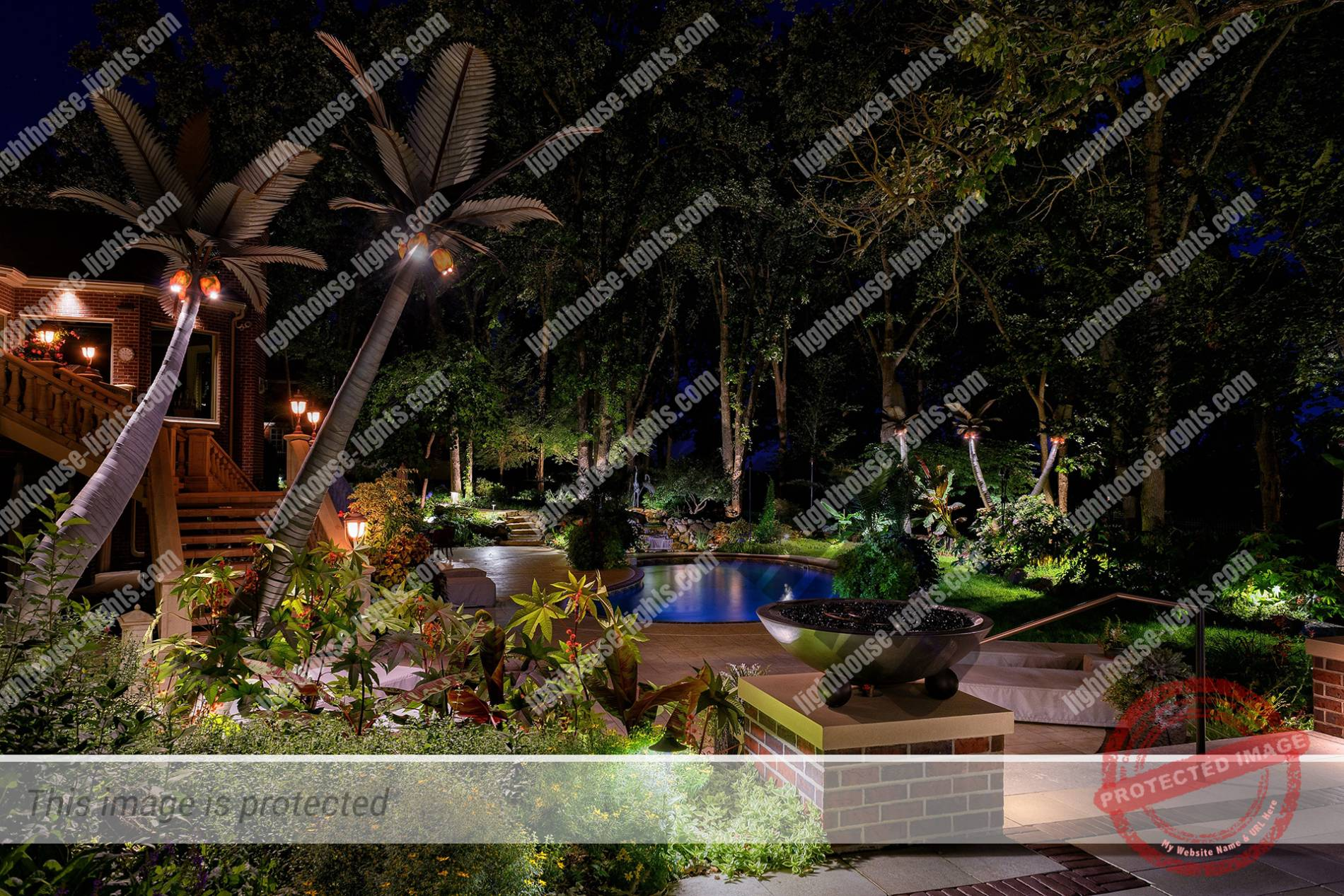 Backyard oasis lighthouse landscape lighting for Pool design hours