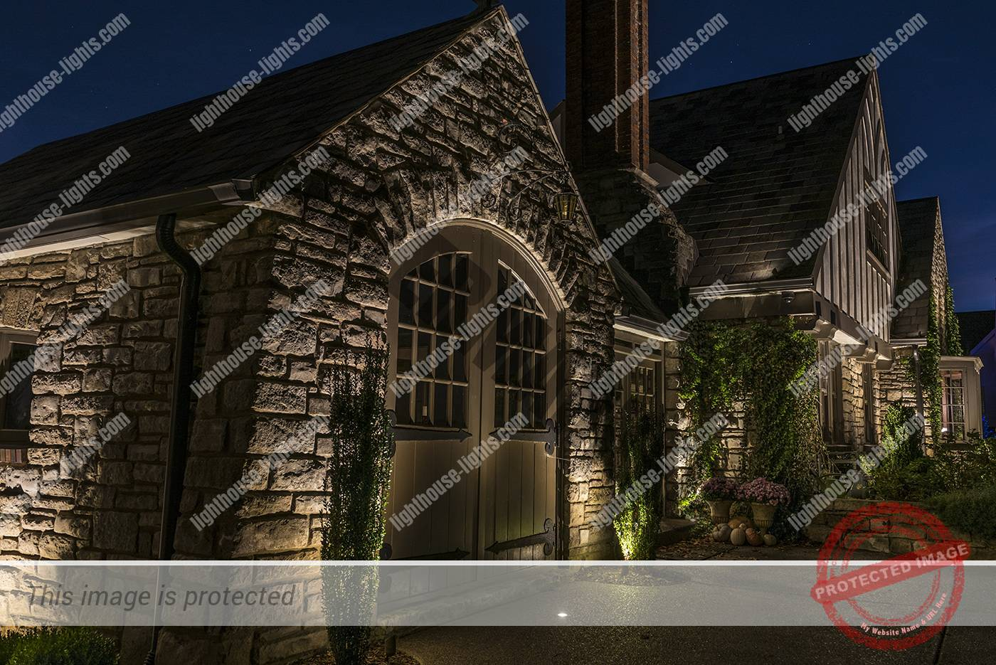 Lighting on Stone Carriage House
