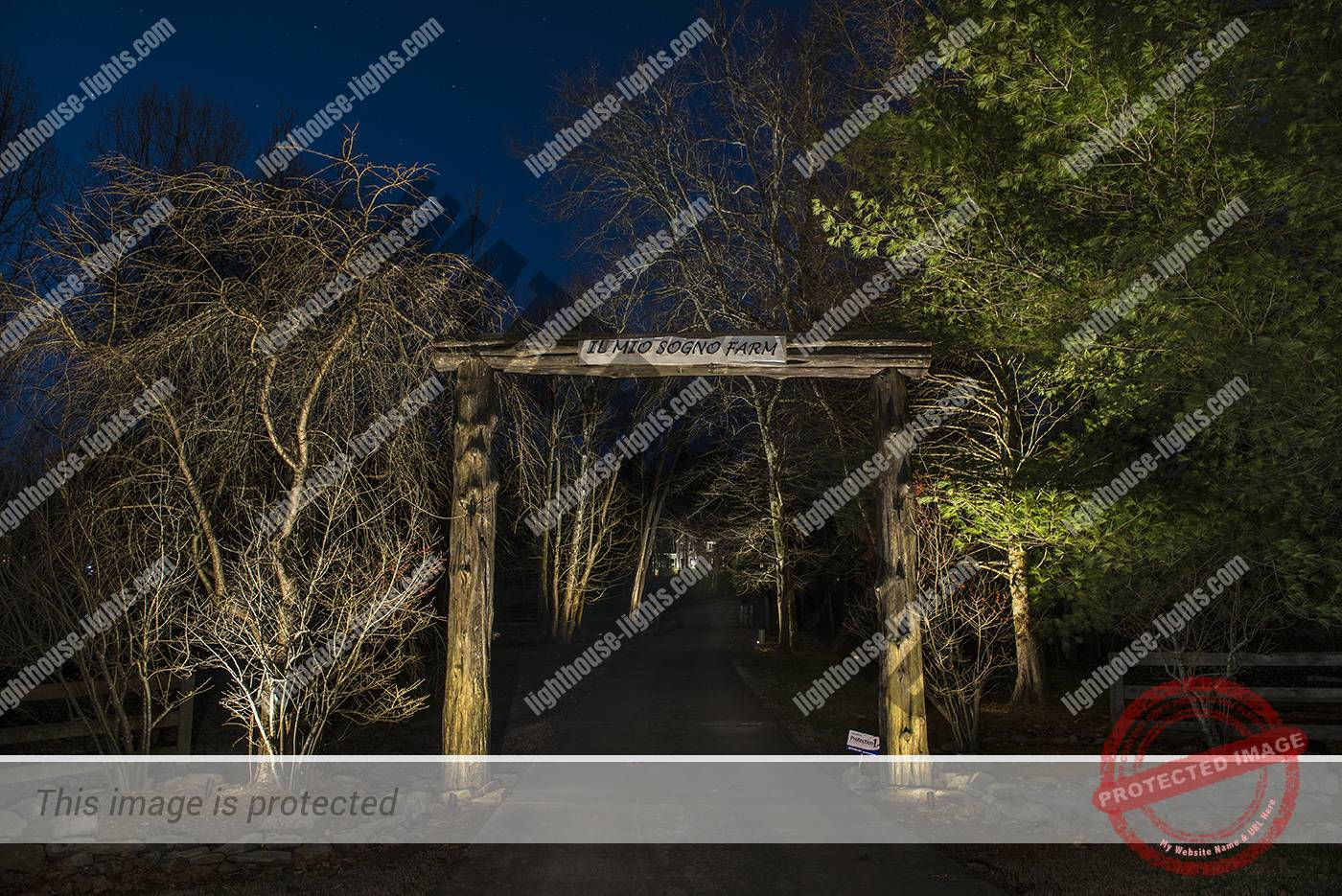 Lighted Rustic Farm Entrance Gate