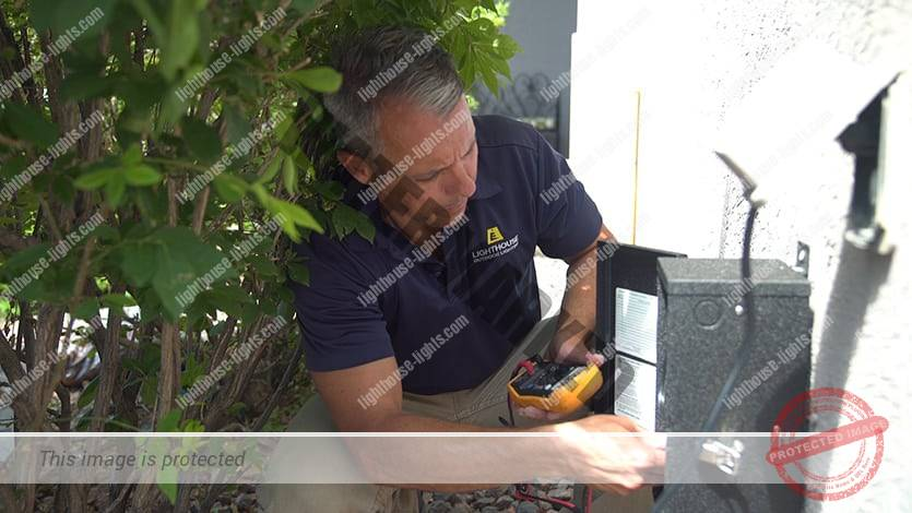 Landscape Lighting Contractor Testing Controller