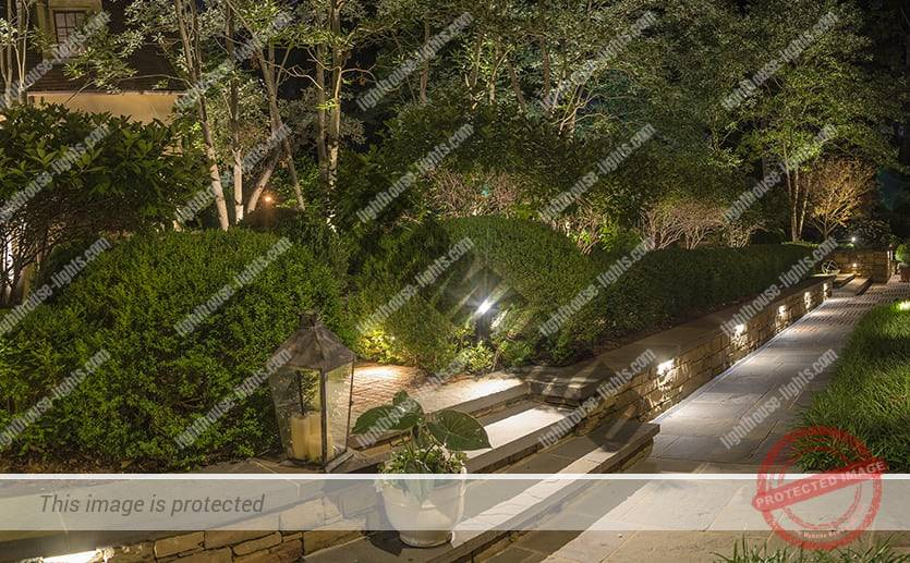 Landscape Lighted Walkways and Retaining Wall