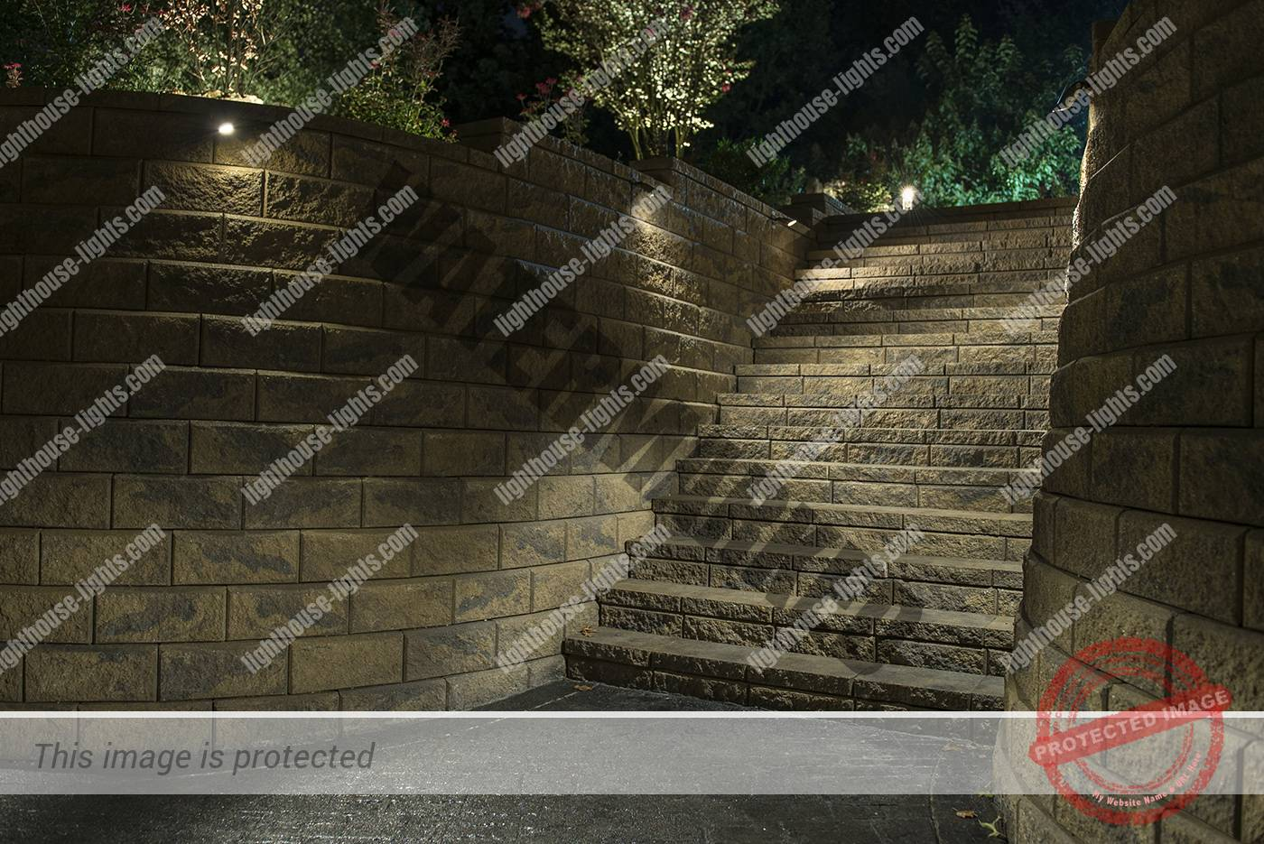 Large Retaining Wall and Steps with Lighting