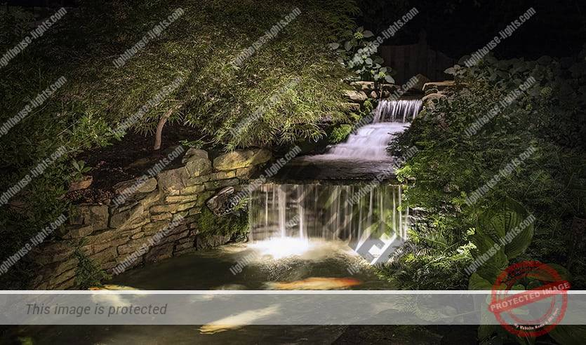 Waterfall with Artistic Landscape Lighting