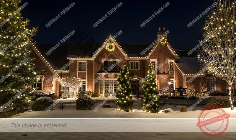 Brick Home with Professional Holiday Lighting