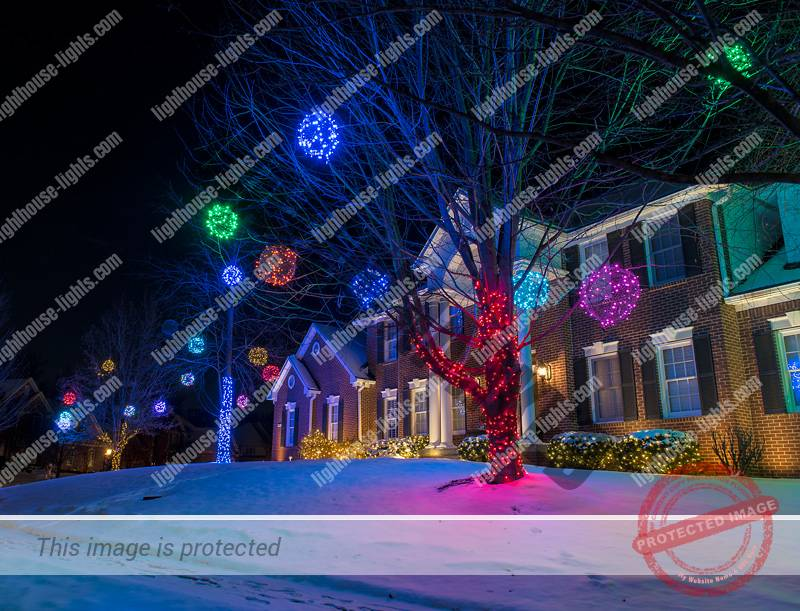 House with colorful holiday lighting